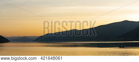 Sunset At Danube Gorge In Djerdap On The Serbian-romanian Border
