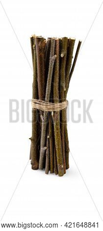 A Bunch Of Thin And Dry Birch Branches And Sticks Stands Upright, Casting A Slight Soft Shadow, Isol