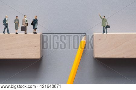 Pencil Sketch Bridging The Gap Between Wooden Blocks For Miniature Team To Cross