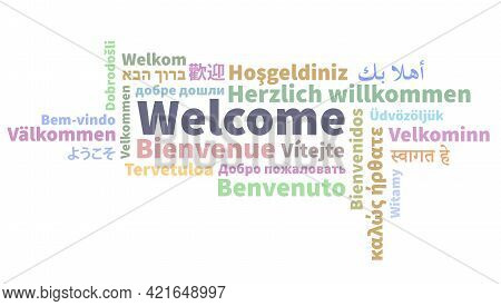 Word Welcome In Different Languages, Greeting Word Cloud Vector Illustration