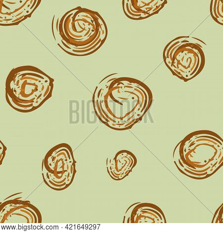 Scribbled Painterly Circle Vector Seamless Pattern Background. Hand Drawn Brush Stroke Ochre Brown C