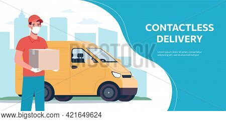 Web Banner With A Contactless Delivery Service In A Van. A Courier Wearing A Protective Mask And Glo