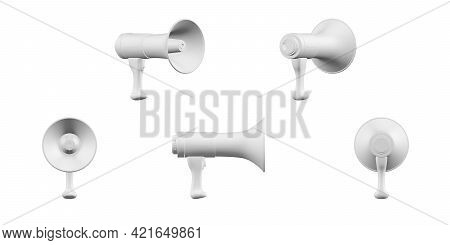 Megaphone Mockup Isolated On A White Background - 3d Render