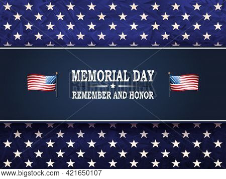 Solemn Blue Card With Stars And Rectangular Blue Frame, Memorial Day, Design Component