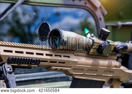 Sniper Rifle With A Telescopic Sight For Long Range Shooting In War.