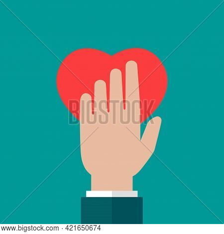 Hand Holding Red Heart On Blue Background. Charity, Philanthropy, Giving Help, Love Concept. Flat Ve