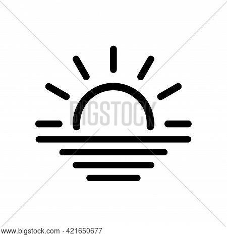 Sunrise Line Vector Icon. Morning. Sunshine. Contour Symbol With Sun Horizon And Sea. Sunset Icon Is
