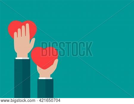 Hands Holding Red Heart On Blue Background. Charity, Philanthropy, Support, Giving, Help, Love Conce