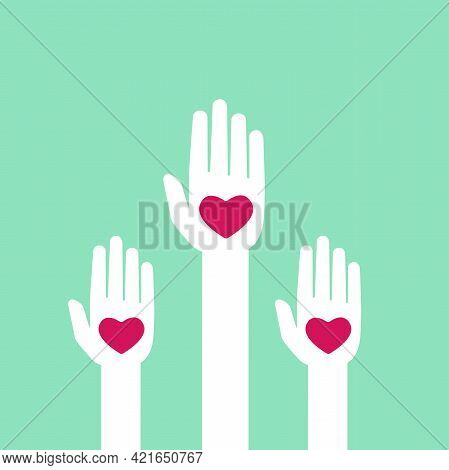 Turquoise Background With Hands Holding Hearts. Charity, Philanthropy, Support, Giving, Help, Love C