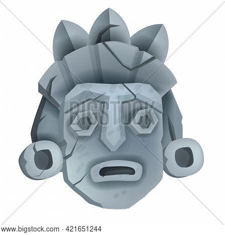 Vector Stone Tiki Mask Illustration Isolated On White, Cartoon Maya Totem Face, Primitive Civilizati