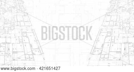House Plan Project .technical Drawing Background.engineering Design .vector , Illustration.