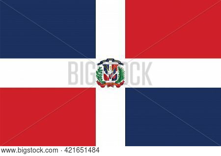 National Dominican Republic Flag, Official Colors And Proportion Correctly. National Dominican Repub