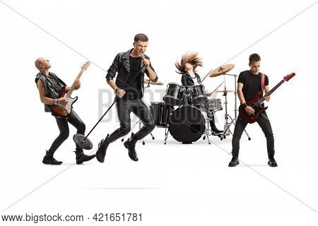 Music band with a male singer jumping with a microphone isolated on white background