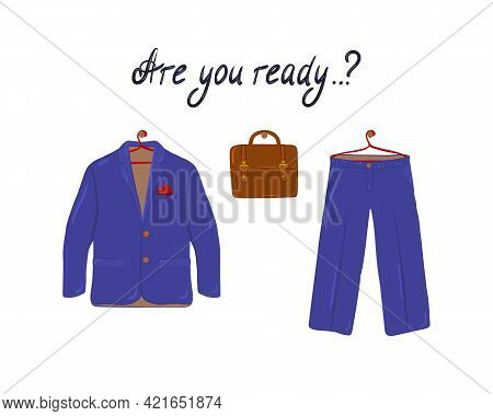 Elegant Mens Fashion, Suit Uniform Jacket, Trousers And Briefcase On A White Background. Postcard Fo