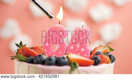 Birthday Cake Number 64, Pink Candle On Beautiful Cake With Berries And Lighter With Fire Against Ba
