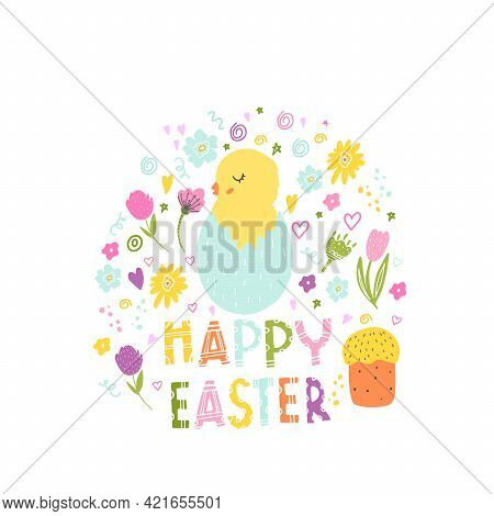 Easter Card With A Chicken In An Egg. Festive Decoration For Easter For Printing On Posters, Sticker
