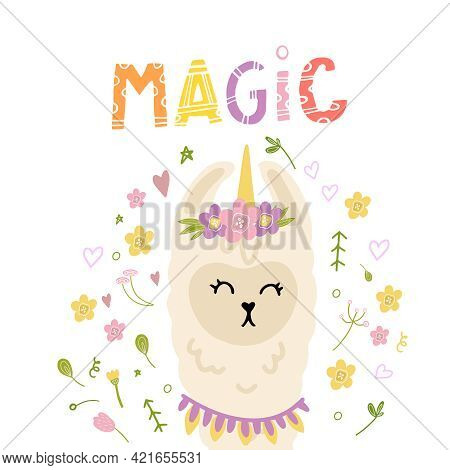A Magical Llama With Flowers And A Horn. Print For A Girl On A T-shirt, Dress, Pillow, Mug With A La
