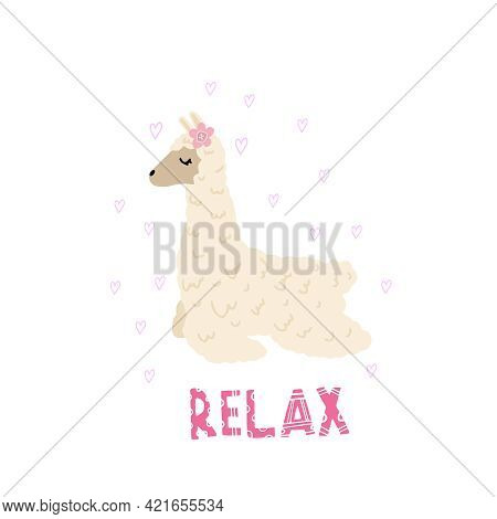 The Lama Is Resting. Print For Children. Print For Dress, Pillow, Mug, Albums With Llama, Heart. Dec