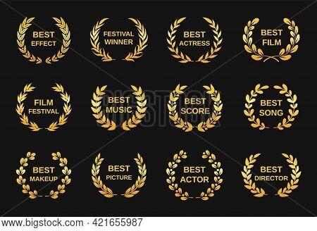 Movie Award. Golden Film Awards, Best Director Winner Rewards. Cinema Festival Nomination Emblems, G