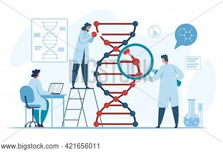 Genetic Dna Research. Scientists Researching And Analyzing Dna Molecule In Laboratory. Biotechnology