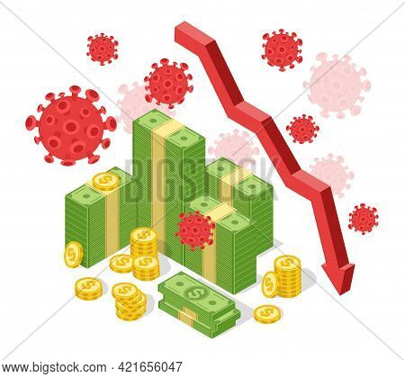 Pandemic Global Economic Crisis. Declining Arrow Chart. Financial Collapse Due Coronavirus Outbreak,