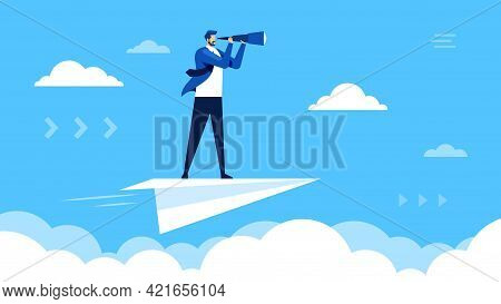 Business Vision. Businessman Flying On Paper Plane And Looking Through Telescope. Seeking Career Opp