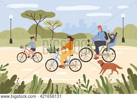 Family On Bikes. Parents And Kids Riding Bikes. Active Family Cycling In City Park. Summer Outdoor R
