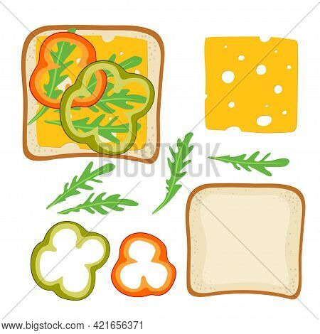 Sandwich Ingredients. Sandwich With Paprika, Cheese, Arugula. Snack. Overhead View Of Isolated Break