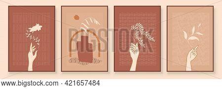 Modern Abstract Art Organic Illustration. Set Of Aesthetic Bauhaus Painting Wall Art For House Decor