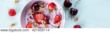 Multigrain Wholewheat Healthy Cereals With Fresh Berry For Breakfast Overhead Shot.granola With Yogu