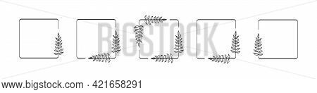Set Of Black Square Foliate Laurels Branches. Vector Illustration Of Hand Drawn Wreaths