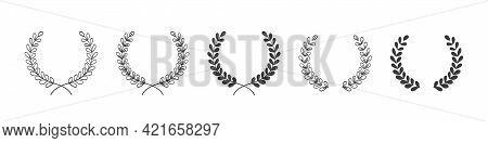 Vector Illustration Of Hand Drawn Wreaths. Wreaths Frame Set. Design Elements For Decoration