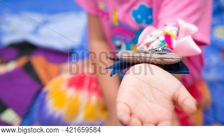Kid Placed Hair Accessories On The Forearm. Child Playing Places Things On Her Arms So That They Don