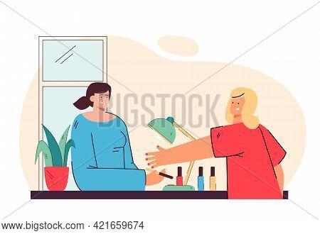 Woman Doing Manicure Vector Illustration. Young Female Character Doing Manicure In Salon. Manicured