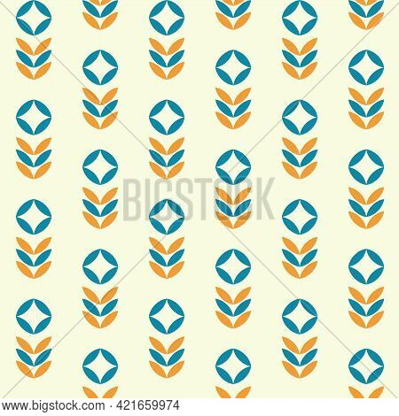Mid Century Style. Modern Contemporary 60s Background. Minimalist Scandinavic Floral Seamless Patter
