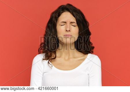 Closeup Portrait Of Sad Depressed Woman With Closed Eyes Suffering From Anxiety, Depression Or Heada