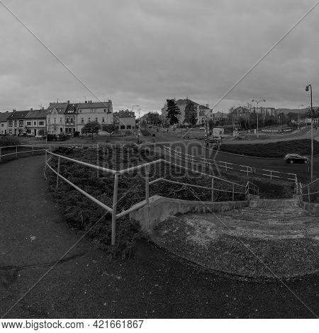 Chomutov, Czech Republic - March 21, 2021: Kadanska Street With School