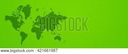 World Map Isolated On Green Wall Background. Horizontal Banner