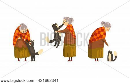 Lonely Old Happy Lady With Her Cat Set, Grandmother Caring For Her Black Cat Cartoon Vector Illustra