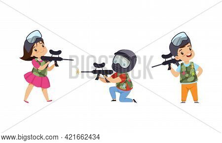 Cute Kids Playing Paintball Set, Boys And Girls Paintball Players Characters Wearing Masks And Vests
