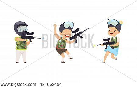 Cute Kids Playing Paintball Set, Happy Boys And Girls Paintball Players Playing Strategy Game Cartoo