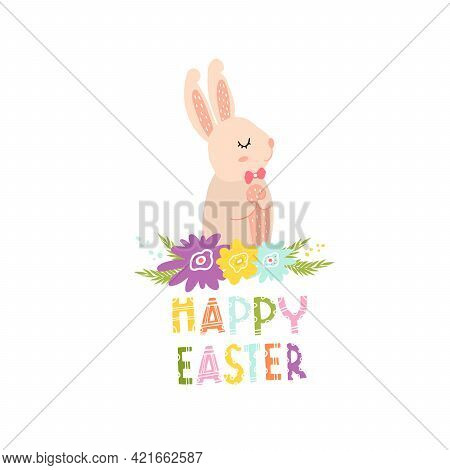 Cute Bunny With Flowers For Easter Card Decoration. Pink Hare For Printing On Clothes, Fabrics, Dish