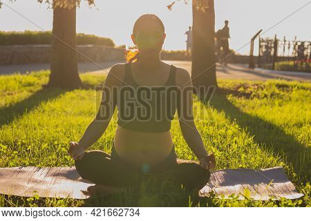Young Pregnant Woman Meditating In Nature, Practice Yoga. Care Of Health And Pregnancy