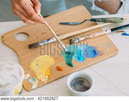 Artist Workplace. Painting Art. Skill Talent. Professional Painter Woman Hands Mixing Yellow Blue Co
