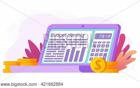 Budget Planning Financial On Laptop.tax Report.audit Or Investment Analysis.spreadsheet With Report