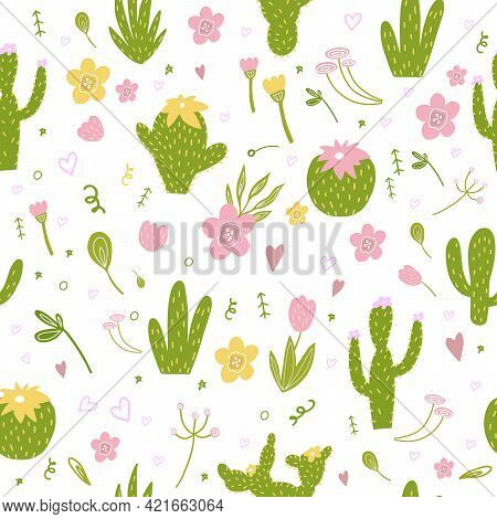 Seamless Pattern With Cactus, Pink Lilies, Yellow Flowers, Branches, Leaves.tropical Pattern For The