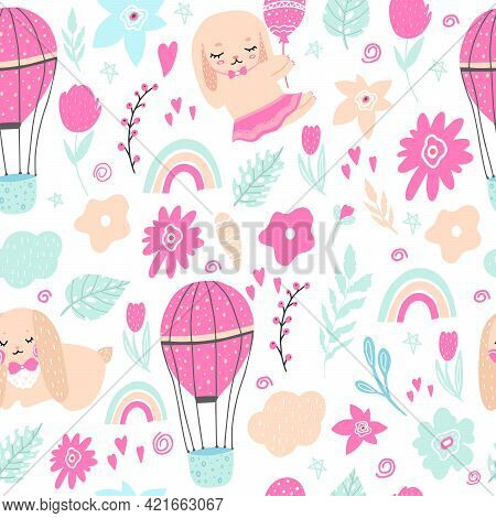 Seamless Pattern With Rabbits, Hares, Flowers, Balloon, Branches. Decoration For A Happy Easter Holi