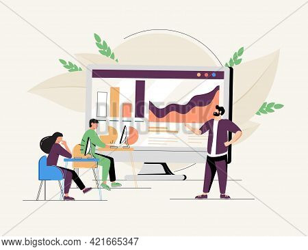 Online Business Conference, Creative Illustrations, Businessmen, Online Joint Meeting, Team Thinking