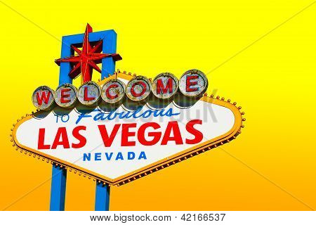 Las Vegas Sign On Yellow