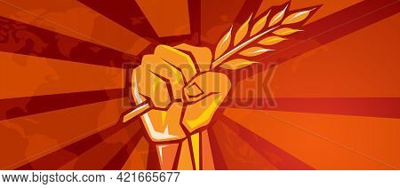 Hand Holding Grain Wheat Rice Crop Symbol Of Revolution Fight For Prosperity Food Freedom Victory